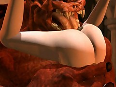 Blonde 3D girl getting monster fucked and jizzed
