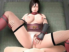 Seriously busty 3D brunette getting impaled on a meaty rod