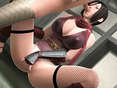 Busty 3D hentai hussy gets her fix of meat