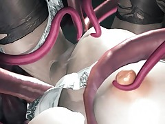 Tentacle 3D demons and monsters fucking tender hentai pussy