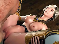 Armored 3D hentai toon babe gets crammed hard